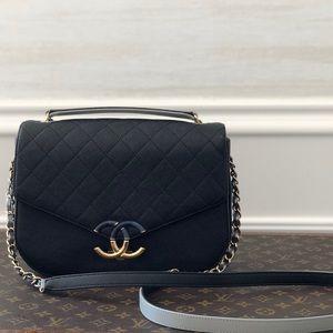 Chanel Black Caviar Coco Thread Crossbody Flap Bag